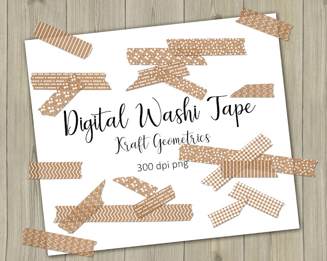 kraft digital washi tape