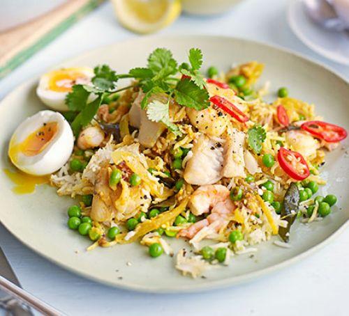 Spring Vegetable Salad with Smoked Fish and Egg and Eggplant Salad with Halloumi