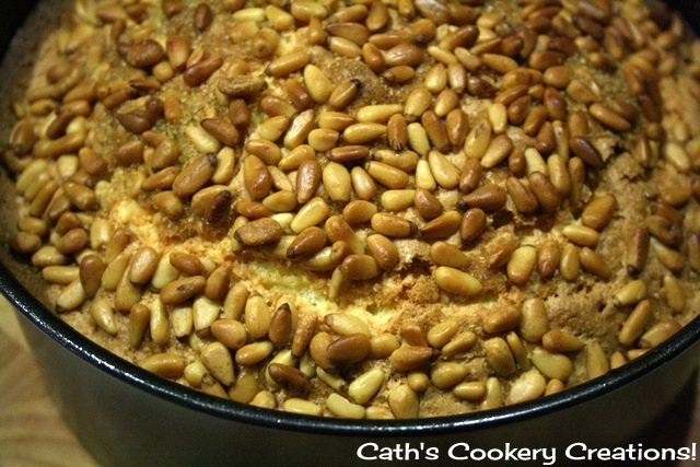 Lemon Sour Cream Cake with Pine Nuts from Cath's Cookery Creations! | www.cathscookerycreations.com
