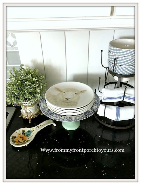 Farmhouse -Cottage- Kitchen-DIY-Tongue-And-Groove-Backsplash-Black Silestone-Sheep Plates-Kitchen Vignettes-From My Front Porch To Yours