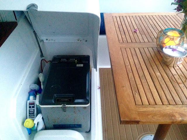 Under seat Engel freezer on a Lagoon 380 sail catamaran