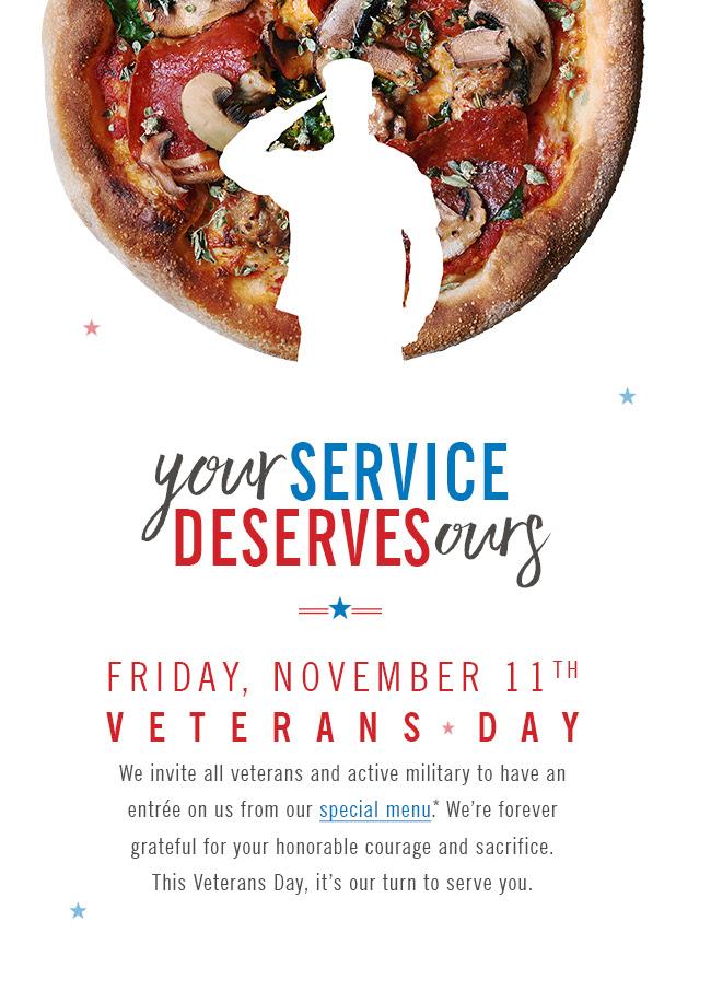 California Pizza Kitchen Veterans Day Menu