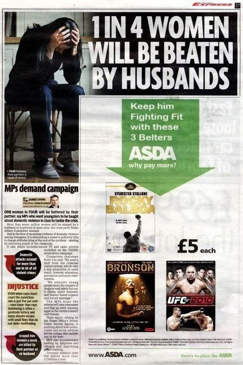 A news headline with a poorly placed Asda advert