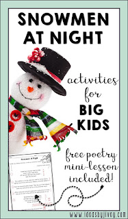 Snowmen at Night is a great book for kids of ALL ages, not just little kids! Get some great ideas for the upper elementary kids to use with the mentor text in this blog post. Students will identify poetry elements, write their own poem, and create an art activity to go with their poem for a hallway display!