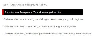 Efek Animasi Background Tag <ul> di Postingan Blog
