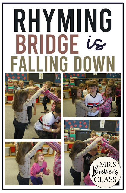 Rhyming Bridge is Falling Down...unless you can give a pair of rhyming words! Come see how to play this fun activity for Kindergarten and First Grade
