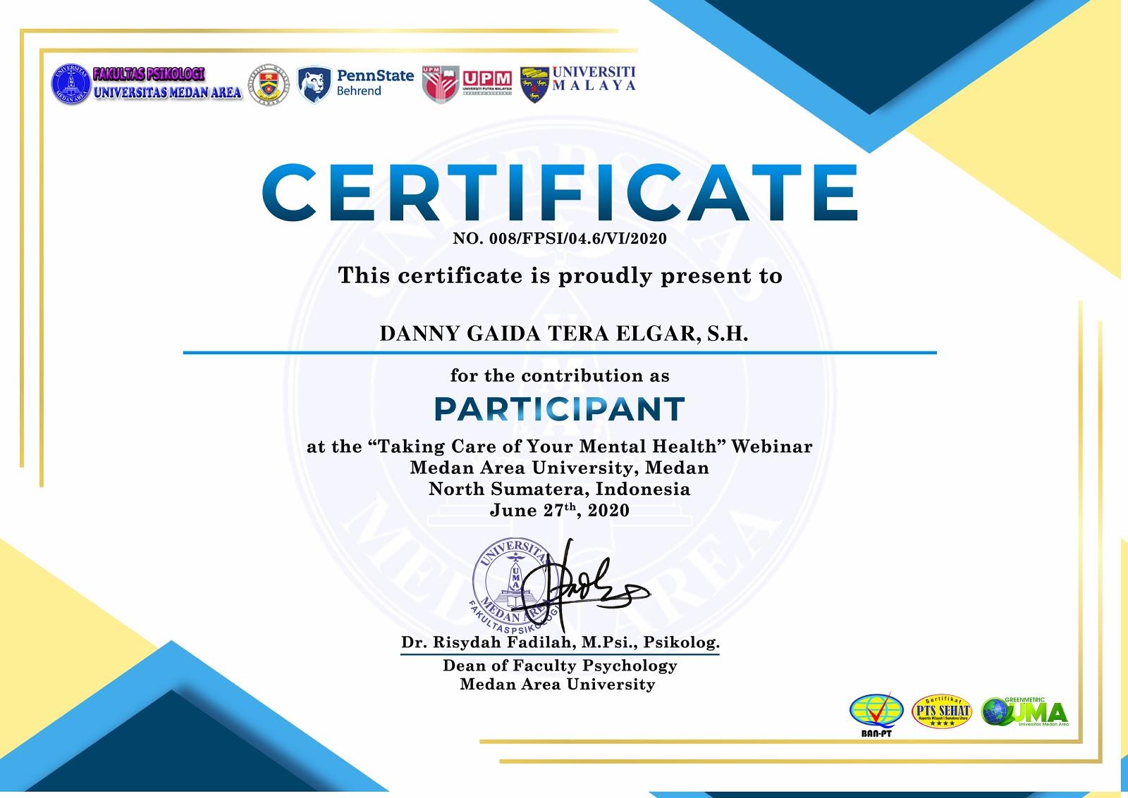 Sertifikat Fakultas Psikologi Universitas Medan Area (UMA) | Sabtu, 27 Juni 2020