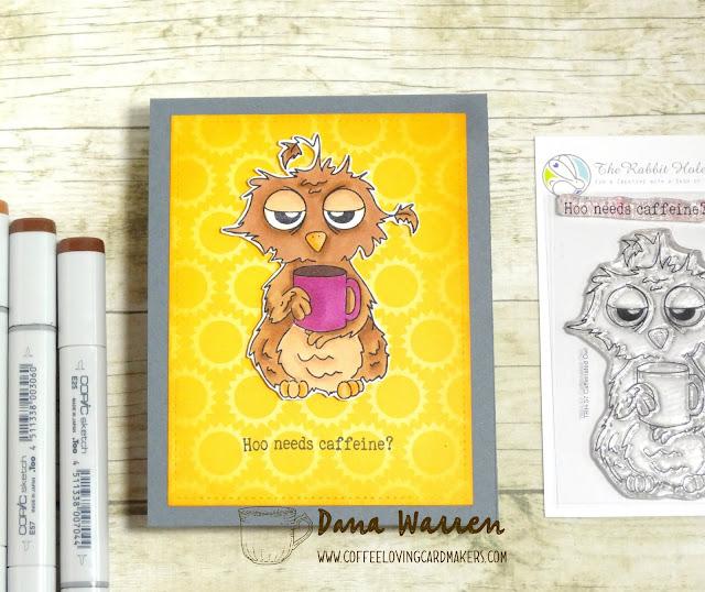 Dana Warren - Kraft Paper Stamps - The Rabbit Hole Designs - Caffeinated Owl