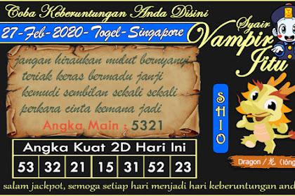 Syair Vampir Jitu Togel SGP Kamis 27 Februari 2020
