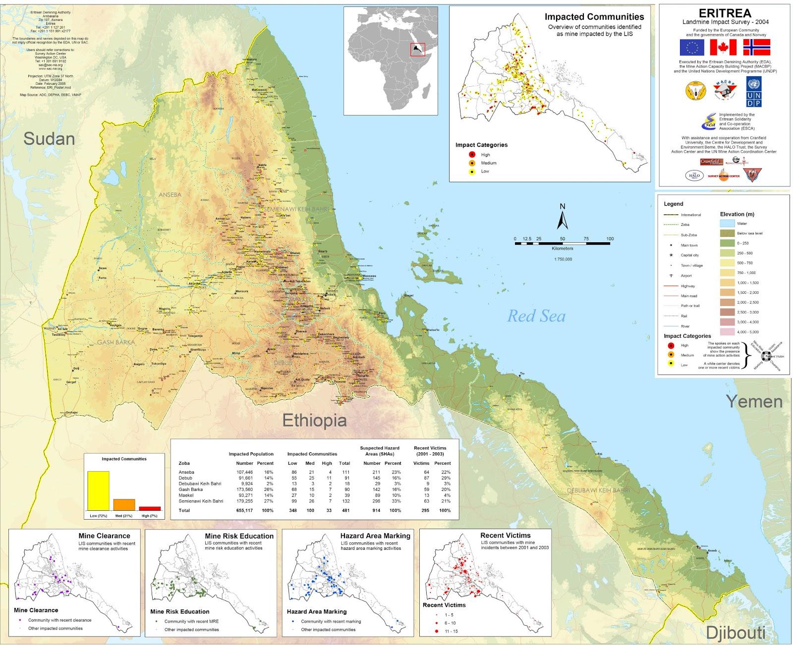 Eritreia | Mapas Geográficos da Eritreia