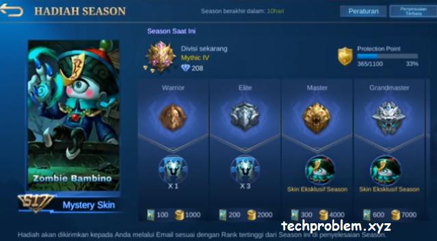 Reset Season 17 Penurunan Bintang
