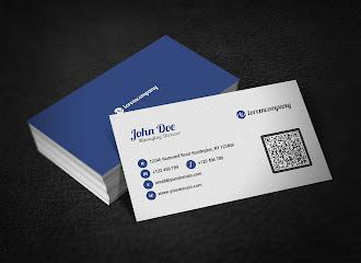 Arkası mavi önü beyaz renkte kare barkodlu bir kartvizit