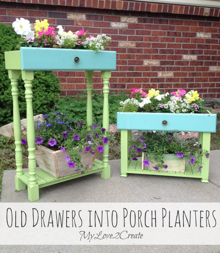 Old Drawers into porch planters, MyLove2Create