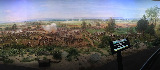 image of a section of the cyclorama showing soldiers on the battlefield