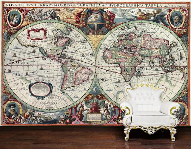Tapet världskarta antik Fototapet världskarta
