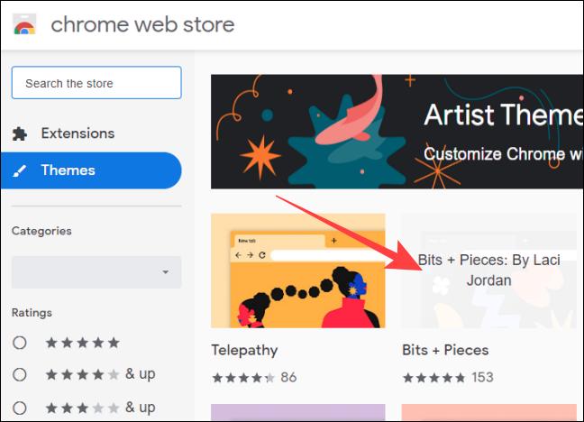 انقر فوق صورة مصغرة للسمات في متجر Chrome على الويب