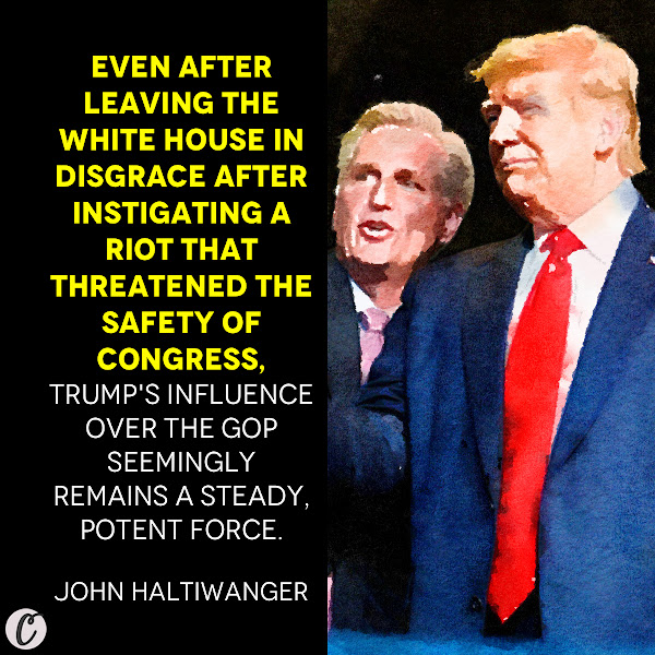 Even after leaving the White House in disgrace after instigating a riot that threatened the safety of Congress, Trump's influence over the GOP seemingly remains a steady, potent force. — John Haltiwanger, Business Insider Senior Politics Reporter