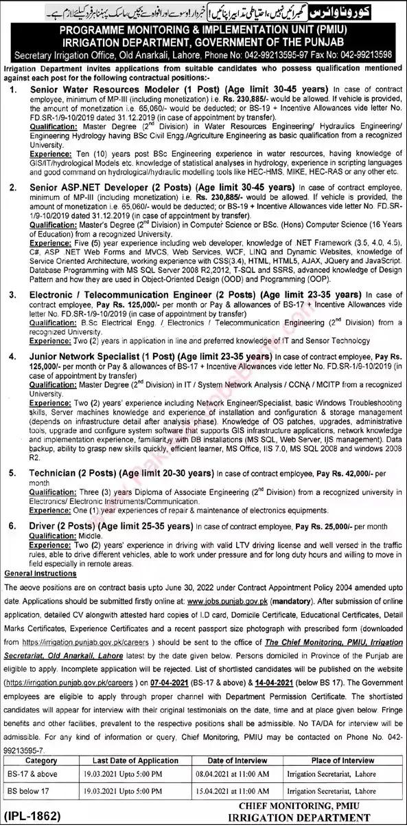 Latest Jobs in Pakistan Irrigation Department Punjab Jobs 2021 | Apply Online