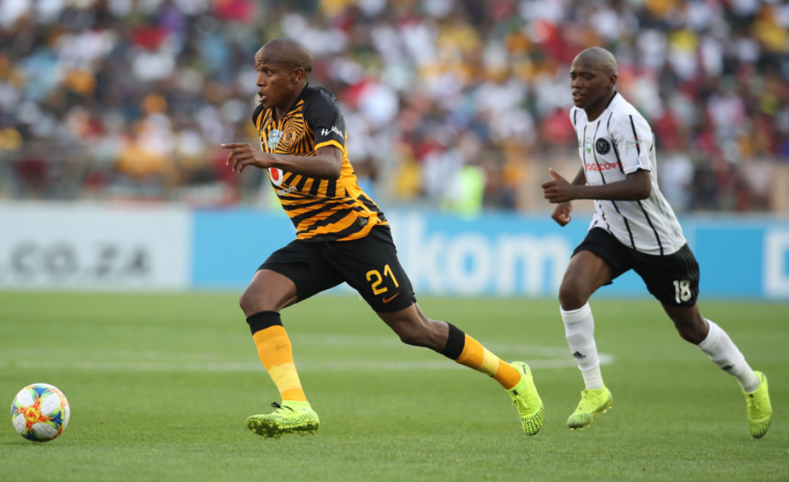 Lebogang Manyama wins the ball in midfield and attacks the space