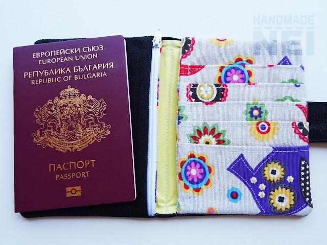 """Handmade Nel: Калъф за паспорт от плат """"Слончета"""""""