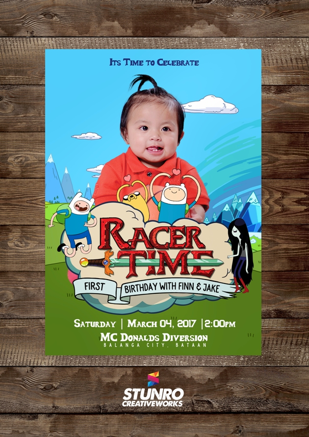 Adventure Time Themed 1st Birthday Invitation Stunro CreativeWorks