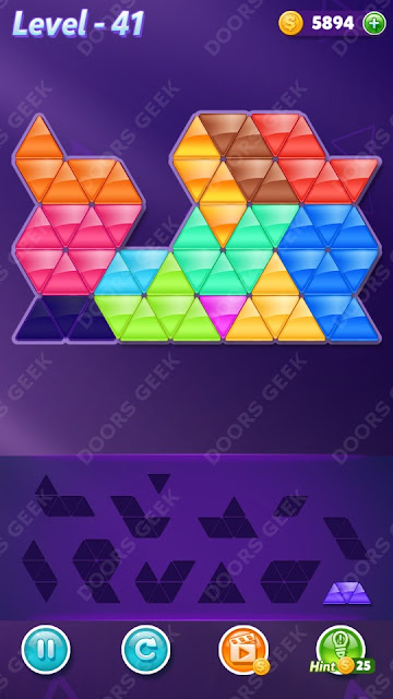 Block! Triangle Puzzle 12 Mania Level 41 Solution, Cheats, Walkthrough for Android, iPhone, iPad and iPod