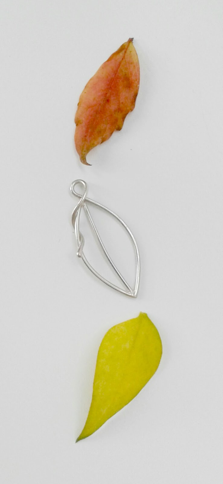 Sterling silver leaf and two autumn leaves