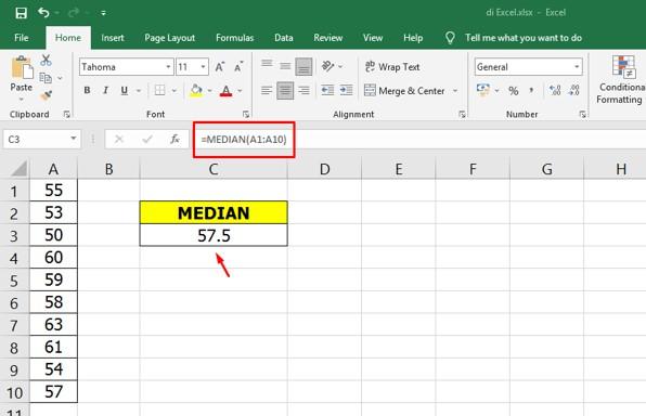 Cara Mencari Median di Excel dengan Rumus Cepat