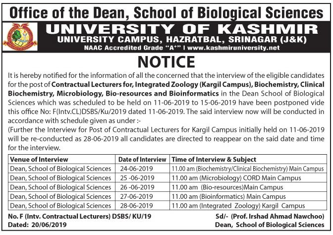 Notification regarding an interview for the post of Contractual Lecturers for Integrated Zoology and other subjects - University of Kashmir