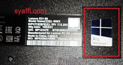 3. Sticker Windows Pro - Windows 10 Product Key