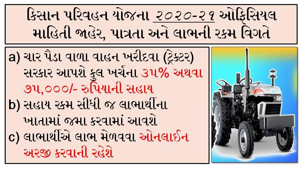 Kishan Parivahan Yojna Gujarat 2020-21 Apply Online at I-khedut Portal