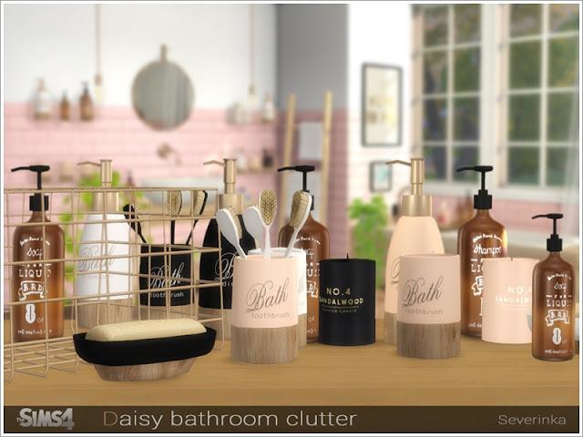 Daisy bathroom clutter Беспорядок в ванной комнате для The Sims 4 Набор декора для дизайна ванной комнаты. В набор входят 9 предметов: - стеклянный диспенсер - диспенсер - зубная щетка - держатель зубной щетки - мыло - металлическая корзина - металлическая витрина - сандаловая свеча - постер Автор: Severinka_