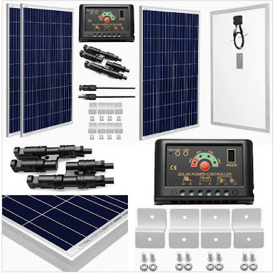 SunGoldPower Solar Power System: 24Volt Polycrystalline Panels (200Watts) with 20A Charge Controller and Installation Kit