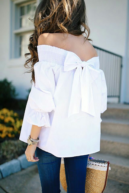 Bow back white  top