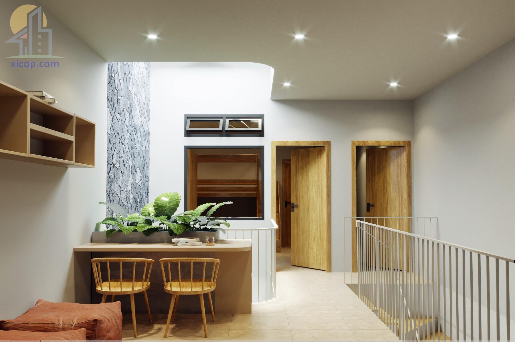 Mẫu nhà 3 tầng mặt tiền 5m đẹp hiện đại kiểu nhà ống đơn giản