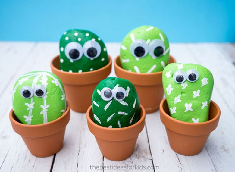pet cactus rock painting ideas for kids