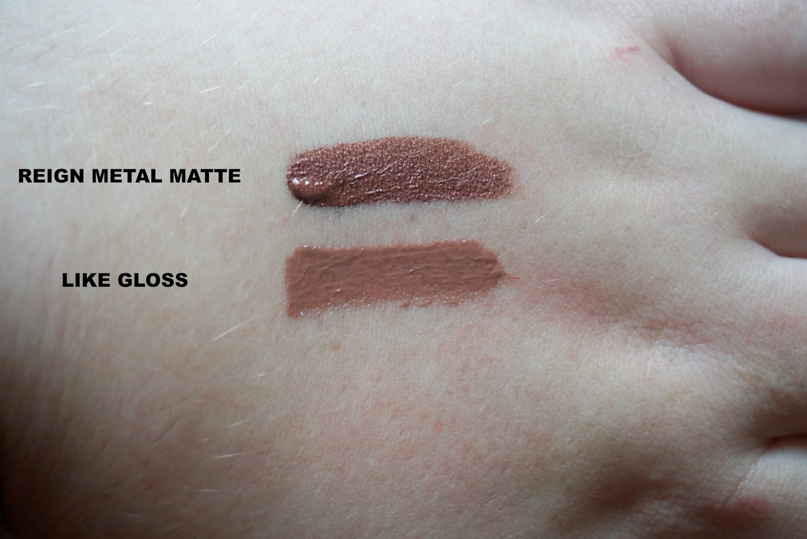 reign metal swatch like gloss swatch