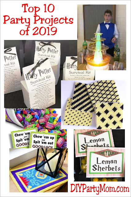 Celebrate at your next party with one of these diy party ideas from DIY Party Mom.  Here are the top 10 party projects of 2019.  Be sure to pin them for your next party project.  #top10 #partydiy #diypartymomblog