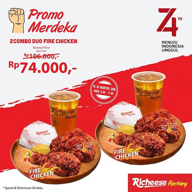#RicheeseFactory - #Promo Merdeka 2 Combo Duo Fire Chicken 74K (15 - 16 Agustus 2019)