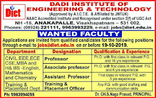Dadi Institute of Engineering and Technology Anakapalle Recruitment 2019 Professor/ Assistant Professor/Associate Professor Job Notification
