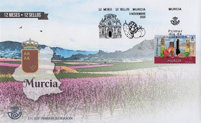 sobre, sello, matasellos, Murcia