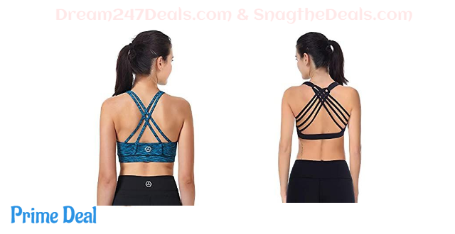 50% OFF Women's Padded Sports Bra Cross Back Removable Cups Workout Clothes Yoga Sports Bras