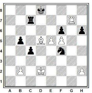 Posición de la partida de ajedrez Najdorf - Stahberg (Zurich, 1953)