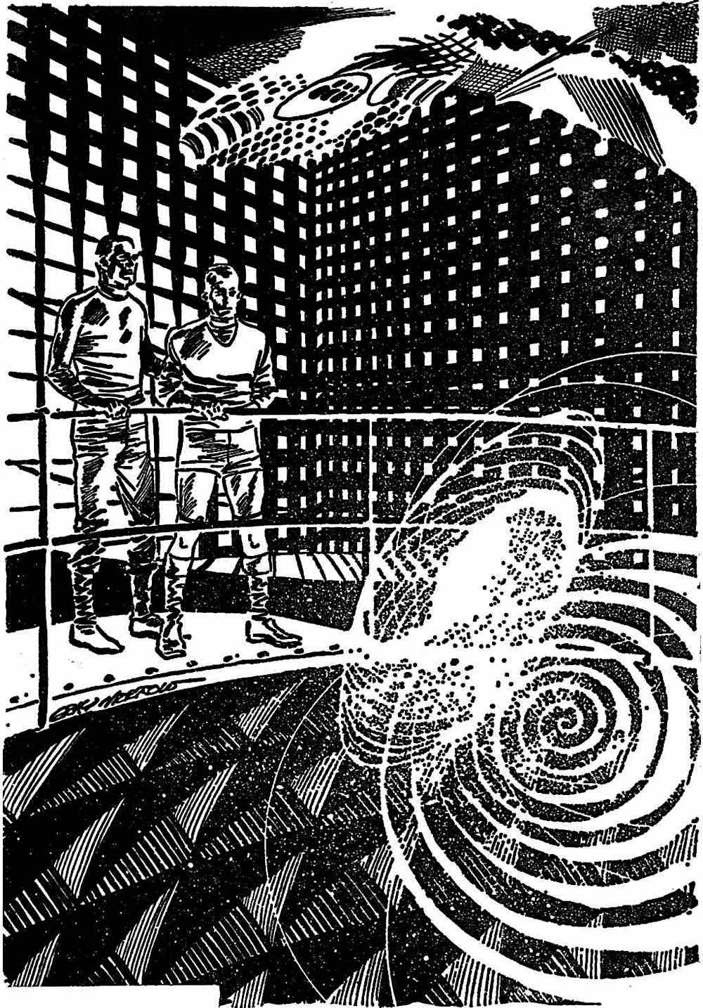 a Gray Morrow illustration, retrofuture