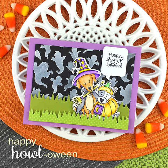 Dogs in Costumes Halloween Card by Jennifer Jackson | Happy Howl-oween Stamp Set and Ghosts Stencil by Newton's Nook Designs #newtonsnook #handmade