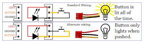 Zero delay alternate wiring for momentary button lighting.