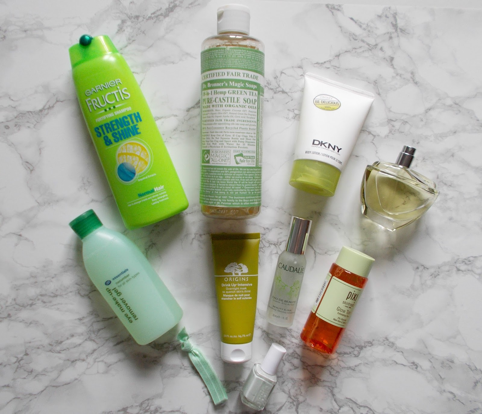 green beauty products garnier fructis dr bronners magic soap dkny be delicious pixi glow tonic irigins drink up intensive essie absolutely shore boots essentials cucumber ribbands