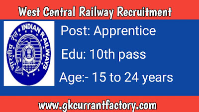 West Central Railway Apprentice Recruitment, Railway Jobs, Railway Recruitment