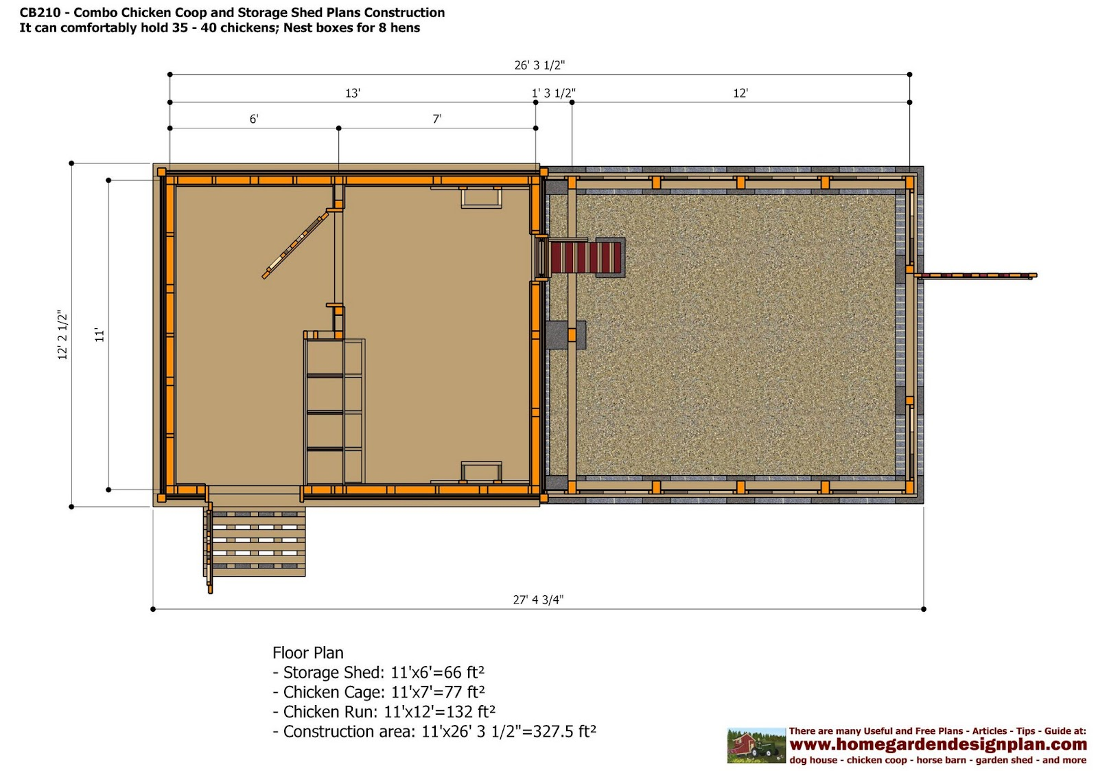 Cb210 combo plans chicken coop plans construction garden for Chicken coop size for 6 chickens
