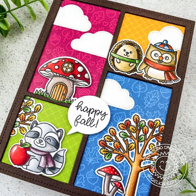 Sunny Studio Stamps: Comic Strip Speech Bubbles Dies Woodsy Autumn Fluffy Clouds Dies Fall Themed Card by Angelica Conrad
